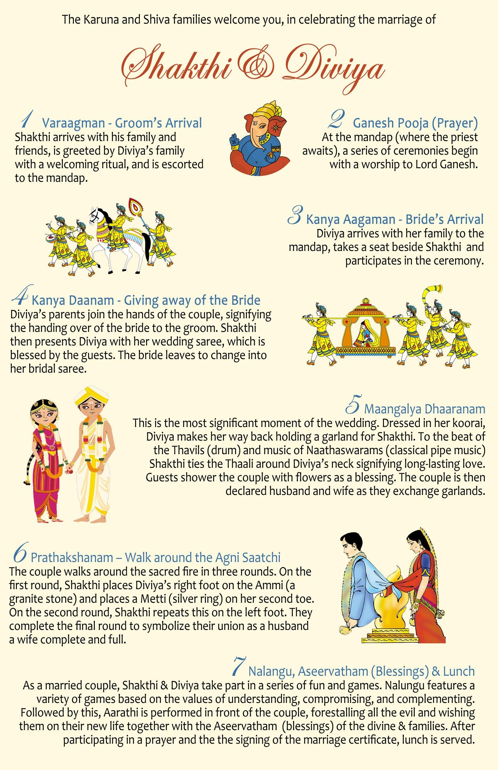 Simplified Tamil/Indian Hindu Wedding Program Template