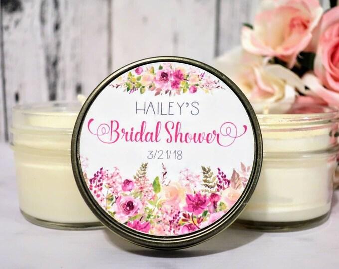 Bridal Shower Favors - Floral Bridal Shower Favors - Bridal Shower Candle Favors - Summer Bridal Shower - Bridal Shower Candle - Set of 12