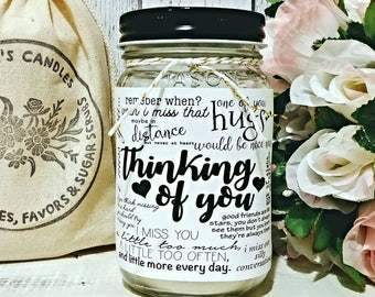 Thinking Of You Candle - Soy Candle Gift - Thinking Of You Gift - Miss You Gift - Long Distance Gift - Scented Soy Candles - Thinking Of You