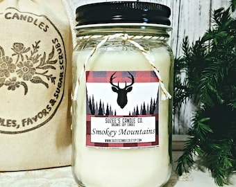 Man Soy Candles - Man Candle - Man Scented Candles - Masculine Candle - Man Cave Gifts - Hunters Gifts - Buffalo Plaid - Mountain Man Gifts