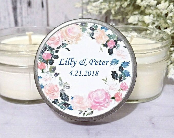 Wedding Favors Candle  - Wedding Party Favors - Summer Wedding Favors - Floral Wedding Favors - Candle Favors - Wedding Candles set of 12