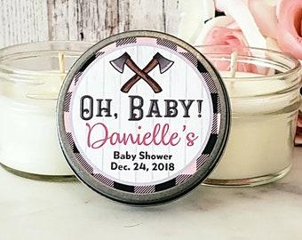 Girl Baby shower favors - Lumberjack Baby shower - oh baby baby shower - Baby shower Favor candles - Girl Baby Shower - Set of 12 4oz candle