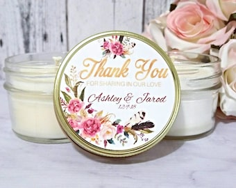 Boho Wedding Favors - Blush and Gold Wedding Favors Candle - Wedding Party Favors - Boho Wedding - Wedding Favor Candles - Set of 12