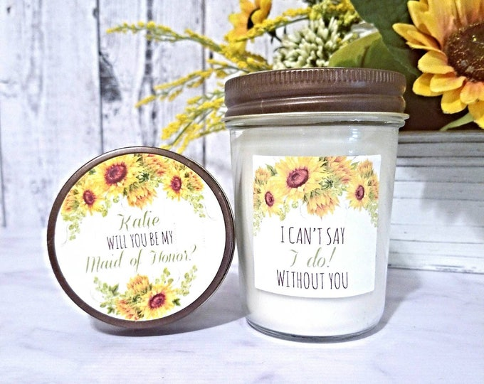 Rustic Bridesmaid Proposal - Rustic Proposal Candle - Sunflower Bridesmaid Proposal - Rustic Maid Of Honor - Will You Be My Bridesmaid
