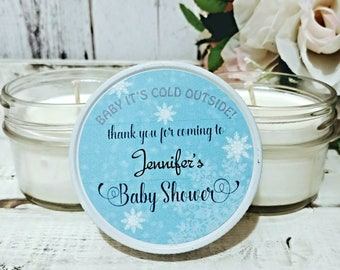 12 Baby Shower Candle Favors - Winter Baby Shower - Candle Favors - Baby Shower Favors - Boy Baby Shower Favors - Girl Baby Shower Favors