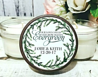 Set of 12 - 4oz Wedding favor Candles - Christmas Wedding Favors - Winter Wedding Favor - Greenery Wedding - Forest Wedding - Soy Candles