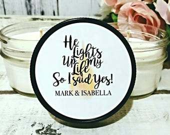 Engagement Party Favors - Engagement Favors - Bridal Party Favors - I Said Yes - Rehearsal Dinner Favor - Engagement Candle - Set Of 12 4oz