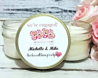 Engagement Party Favors - Personalized engagement gift - Engagement Candle - Wedding Candle Favors - Bridal Shower Gift - Soy Candle Favors