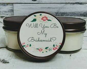 Bridesmaid Candle Favors - Bridesmaid Proposal Candle Favor - Floral Wedding Favors - Maid Of Honor Candle Favor - Rustic wedding Favors