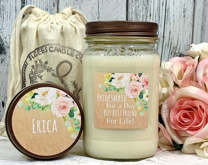 Bridesmaid Gift Candle - Maid Of Honor Gift Bridesmaid Gift - Bridesmaid Candle - Soy Candle Gift - Rustic Bridesmaid Gift