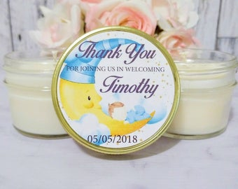 Baby Shower Candle Favors - Moon Baby Shower - Lullaby Baby Shower - Boy Baby Shower Favors - Girl Baby Shower - Soy Candles Set of 12