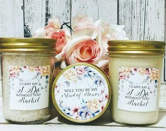 Bridesmaid Gift Set - Maid Of Honor Gift Set - Personalized Bridesmaid Gift - Will You Be My Bridesmaid gift set - Bridesmaids Candles