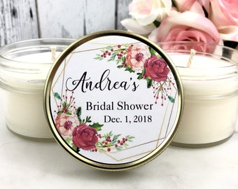 Bridal Shower Candle Favors -  Wedding Candle Favors - Bridal Shower Favors - Soy Candle Favors - Fall Candle Favors - Winter Wedding