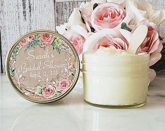 12 Bridal shower Sugar Scrub Favors - Sugar Scrub Shower Favors - Bridal shower favors - Floral Wedding Favor - Sugar Scrub Favor