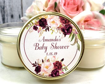 12 Baby shower Favors Girl - Burgundy Baby Shower - Baby Shower favors Candles - Girl Baby Shower Favors Baby Shower party Favors girl