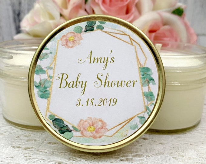 Baby Shower Candle Favors - Girl Baby Shower Favors - Greenery and gold Baby Shower - Baby shower Candle Favors