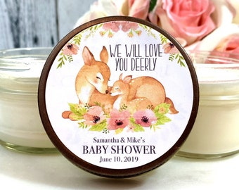 Deer Baby Shower Favors - Mommy and Baby - Deer Baby shower - Woodland Animal Favors - Deer Favors - Deer Baby Shower for girl - Soy Candles