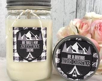 Buffalo Plaid Christmas Candle - Christmas Candle - Christmas gifts - Farmhouse Decor - buffalo plaid - Buffalo Plaid Candle - Rustic Candle