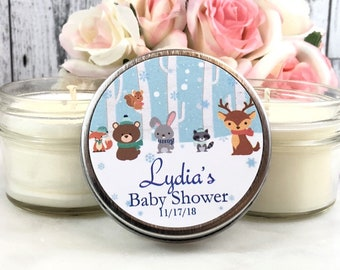 Winter Baby shower favors - Winter Woodland Baby Shower - Winter Woodland - Woodland Baby shower - Baby Shower Favor Candles - Set of 12