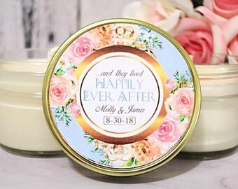 Wedding Favors - Fairy Tale Wedding Favors - Royal Wedding Favors - Blush and Gold Wedding - Elegant Wedding - Soy Candles set of 12
