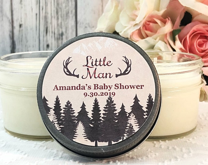 Mountain Baby shower Favors - Little Man Baby Shower Favors - Mountain Baby Shower - Lumberjack Baby Shower Favors - Set of 12 Candles