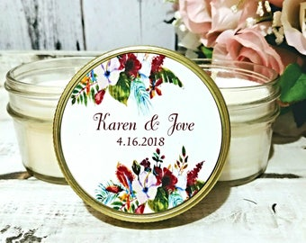 Wedding Favors - Tropical Wedding - wedding Candle Favors - Hawaii Wedding - Island Wedding - Soy Candle Favors - Wedding Candles /Set of 12