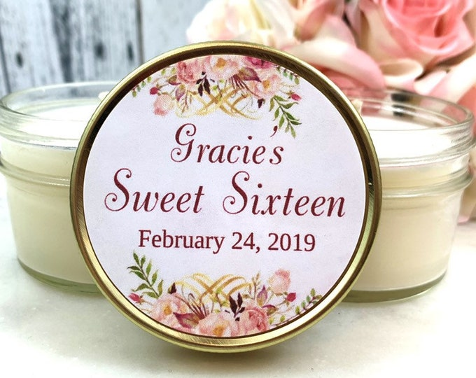 Sweet 16 Favors - Sweet 16 Candle Favors - Sweet 16 Party Favors - Sweet 16 Party Ideas - Sweet 16 Princess - Pink & Gold Sweet 16 - Set 12