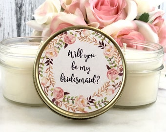 1 Will You Be My Bridesmaid Candle Favors - Bridesmaid Set - Bridemaids Proposal - Bridemaids Gifts - Maid Of Honor - Candles Favors