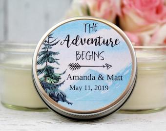 Adventure Begins Wedding Favor -  Wedding Favor Candles  - The Adventure Begins Wedding Shower - Let The Adventure Begins - Wedding Favor