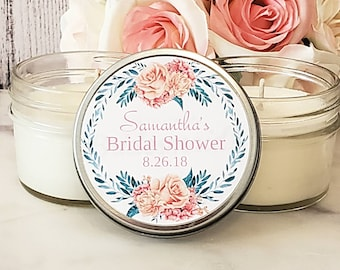 Floral Bridal Shower Favors - Soy Candle Bridal Shower Favors - Bridal Shower Candle Favors - Bridal Shower Candles - Set of 12