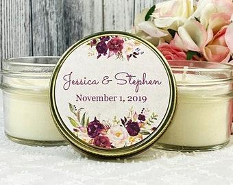 Marsala Wedding Favor - Wedding Favor Candles - Burgundy Wedding Favor - Marsala Wedding - Wedding Candle Favor - Marsala Favors Set of 12