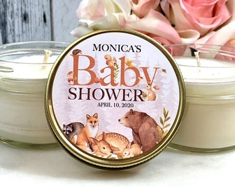 Rustic Baby Shower Favors Animal Baby Shower Rustic Woodland baby shower Animal Baby Shower Candle Favors Rustic Woods baby shower Favors