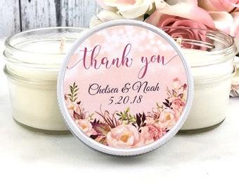 Candle Wedding Favor - Pink Wedding favor - wedding candle Favor - blush wedding - blush and gold - Wedding party favors - Set of 12