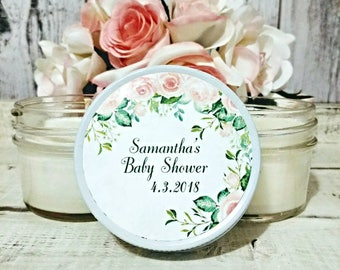 Girl Baby Shower Favors - Baby Shower Candle Favors - Pink and green baby shower - Spring Baby Shower - candles for baby shower - Set Of 12