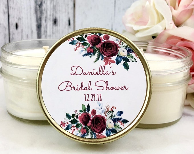 Winter Bridal Shower favor - Rustic Bridal Shower - Winter Wedding Favor - Candle Favor - Christmas Bridal Shower - Bridal Shower Candles