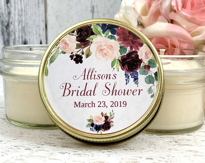 Rustic Bridal shower Favors - Rustic Wedding Favors - Rustic Bridal shower - Bridal Shower Candle Favors - Burgundy Navy Wedding Favors