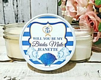 Bridesmaid Favors - Nautical Bridesmaid Gift - Nautical Wedding Favors  - Bridesmaid Candles - Wedding Candle Favors - Set of 6