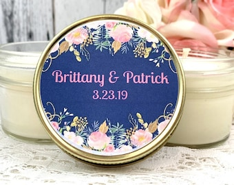 Candle Wedding Favor - Navy Blush Wedding - Wedding Favor for guests - Candle Favor - Wedding Candle Favor - Navy Wedding - Set Of 12 4oz