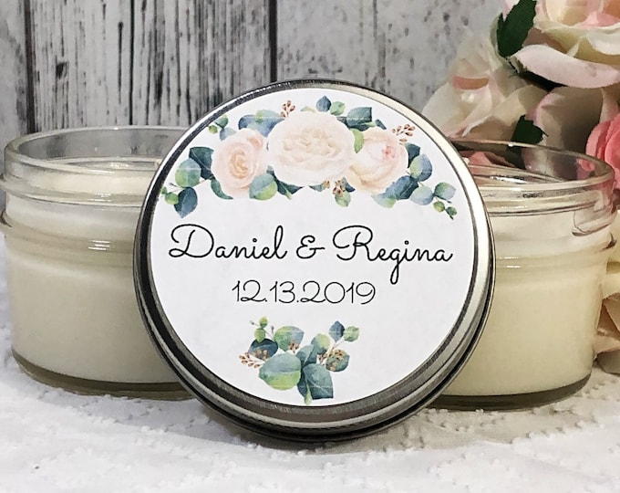 Greenery Wedding Favor - Greenery and flowers Wedding - Greenery Favors - Outdoorsy Wedding - Green and white Wedding Bouquet Candle Favor