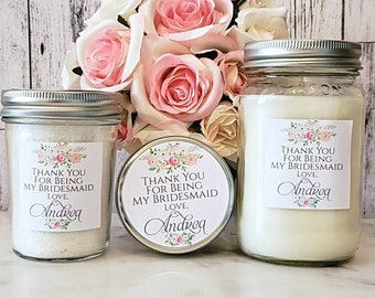 Thank You For Being My Bridesmaid - Thank You Bridesmaid Candle - Bridesmaid Gift - Bridesmaid Spa Set - Thank you bridesmaid Gift - Spa set
