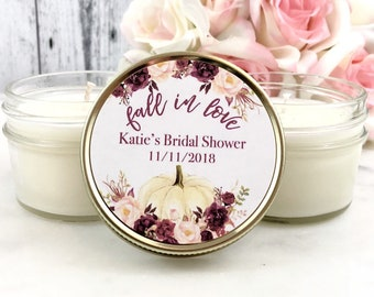 12 Fall Bridal Shower Favors -Bridal shower Favors candles - Marsala Bridal Shower - Pumpkin Bridal Shower Favors - Marsala Wedding - Set of