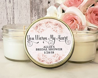 Personalized Bridal Shower Favor - Bridal Shower Candle Favor Blush & Gold Bridal Shower - Personalized Favors - Personalized Candle Favors
