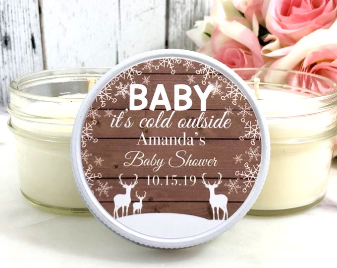Baby it's Cold Outside - Winter Baby Shower Favor  - Snowflake Favor - Winter Baby Shower - Baby shower Candle Favor