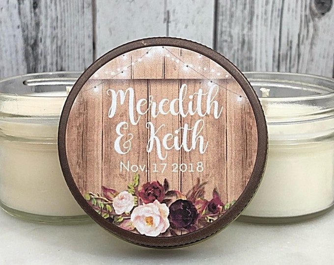 Rustic Wedding Favors - Barn Wedding Favors - Rustic Fall Wedding - Rustic Favors - Marsala Wedding - Wedding Favor Candles - Set Of 12