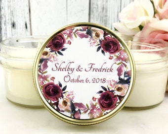 Wedding Candle Favors - Fall Wedding Favors - Burgundy Wedding - Fall Favors - Soy Candle Favor - Wedding Favor Candle Set of 12