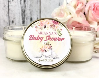 Girl Baby Shower Favors Candles - Bunny baby shower Favors - Blush Baby Shower - Floral Baby Shower Favors - Spring Baby Shower - Set of 12