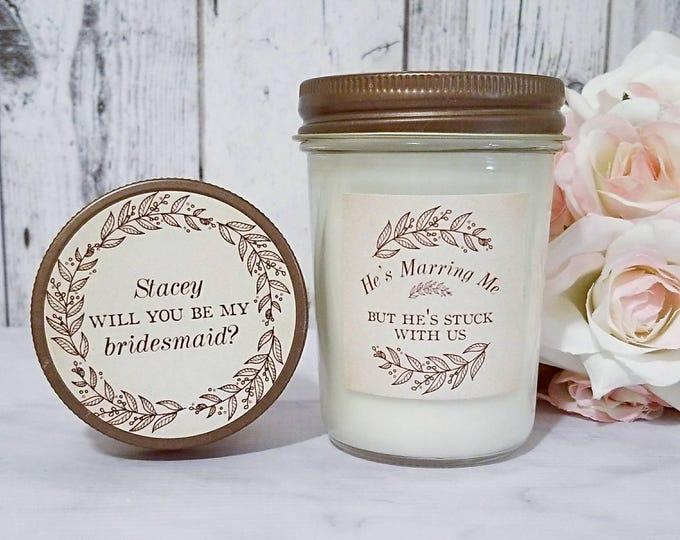 Rustic Bridesmaid Proposal - Candle Bridesmaid Proposal - Bridesmaid Candle - Bridesmaid Proposal - Rustic Bridesmaid Gift - Rustic Wedding