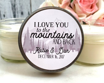 Rustic Wedding Favor - Mountain Wedding Favor - Wedding Candles - Forest Wedding - Candle Wedding favor - Winter Wedding Favors - Set Of 12