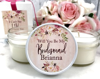 Bridesmaids Candle Gift - Bridesmaid Proposal Gift Set - Bridesmaid Proposal Gift Box Set - Blush Wedding - Blush Bridesmaid Gift Candle