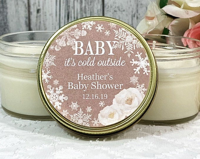 Winter Baby Shower Favors - Winter Baby Shower - Baby Its Cold outside - Candle Favors - Neutral Baby Shower Favors - Winter Favors